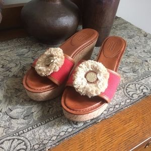 Coach Jazmin Coral Red Cork Wedges